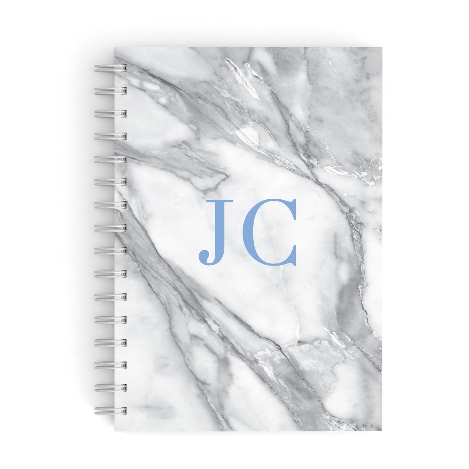 Grey Marble Blue Initials A5 Hardcover Notebook