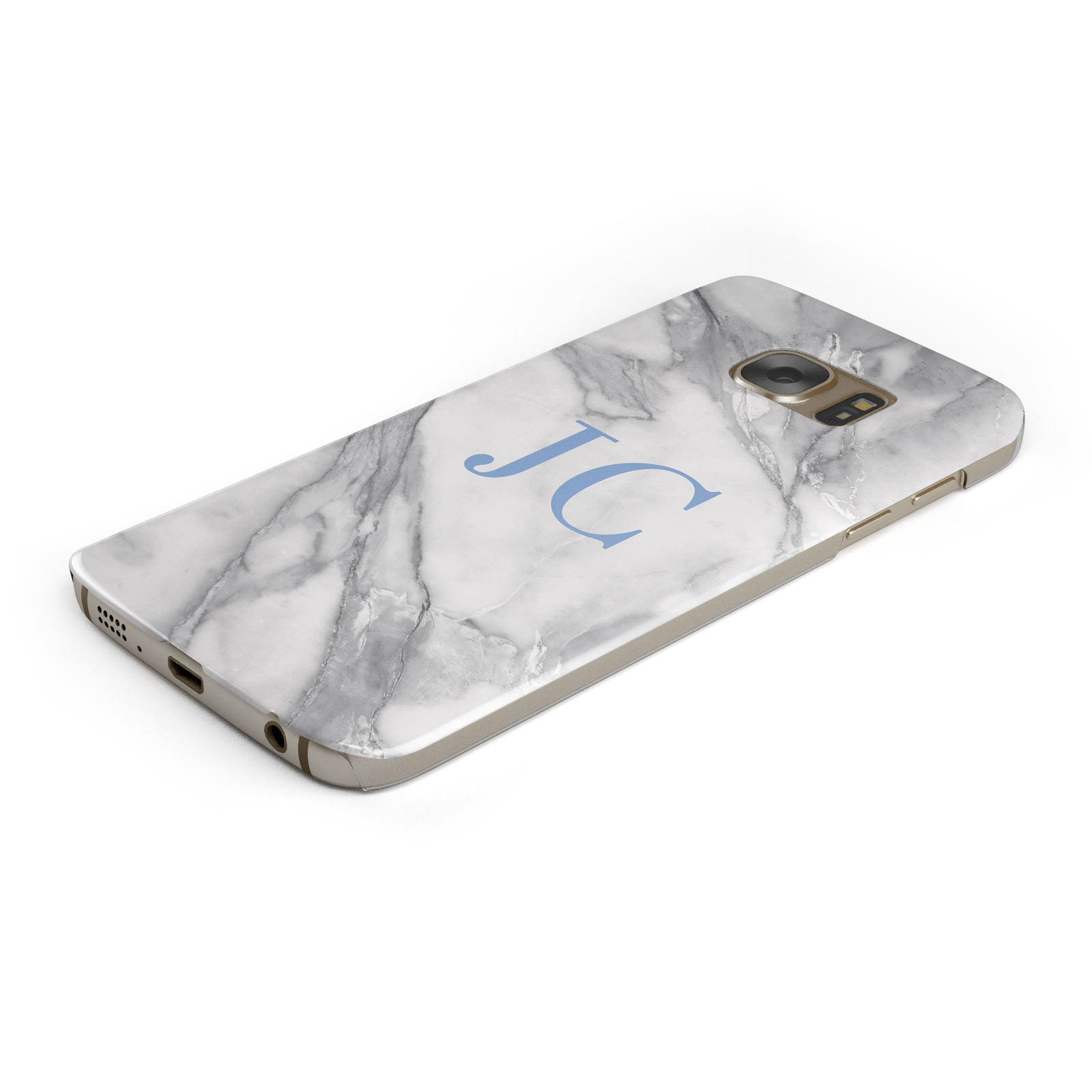 Grey Marble Blue Initials Samsung Galaxy Case Bottom Cutout