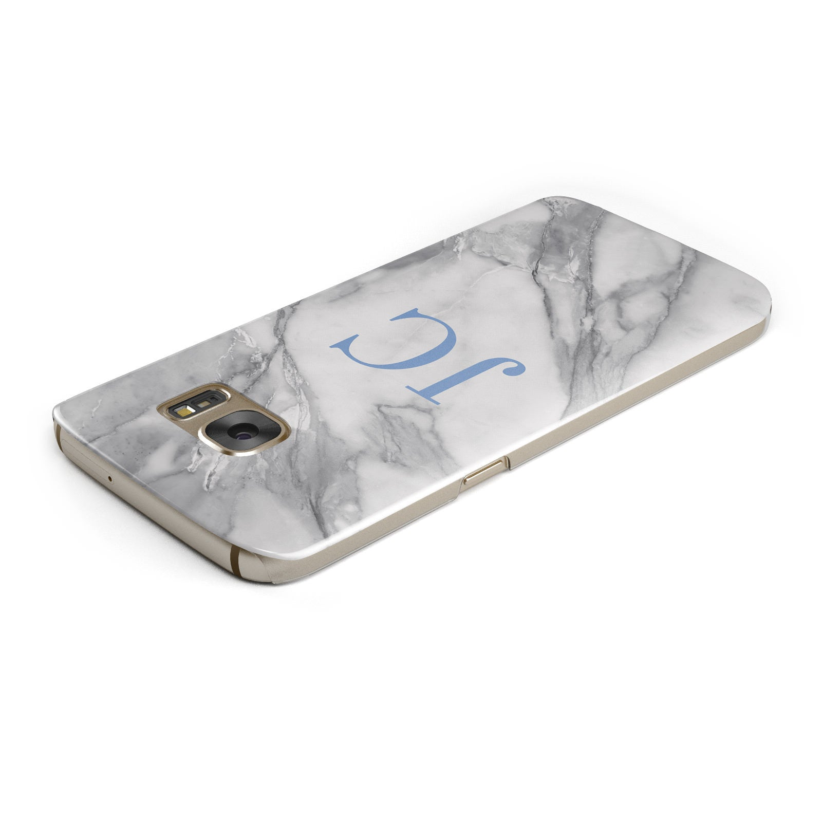 Grey Marble Blue Initials Samsung Galaxy Case Top Cutout