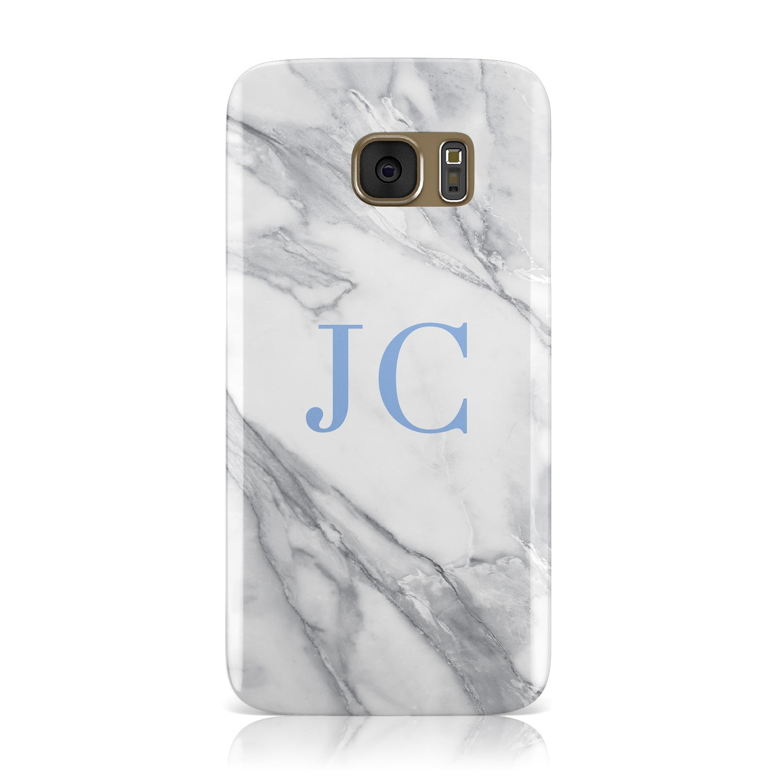 Grey Marble Blue Initials Samsung Galaxy Case