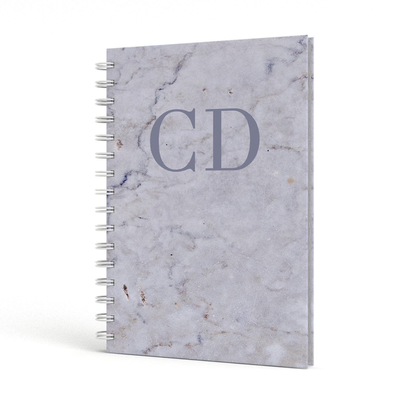 Grey Marble Grey Initials A5 Hardcover Notebook Side View