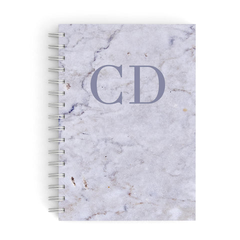 Grey Marble Grey Initials A5 Hardcover Notebook
