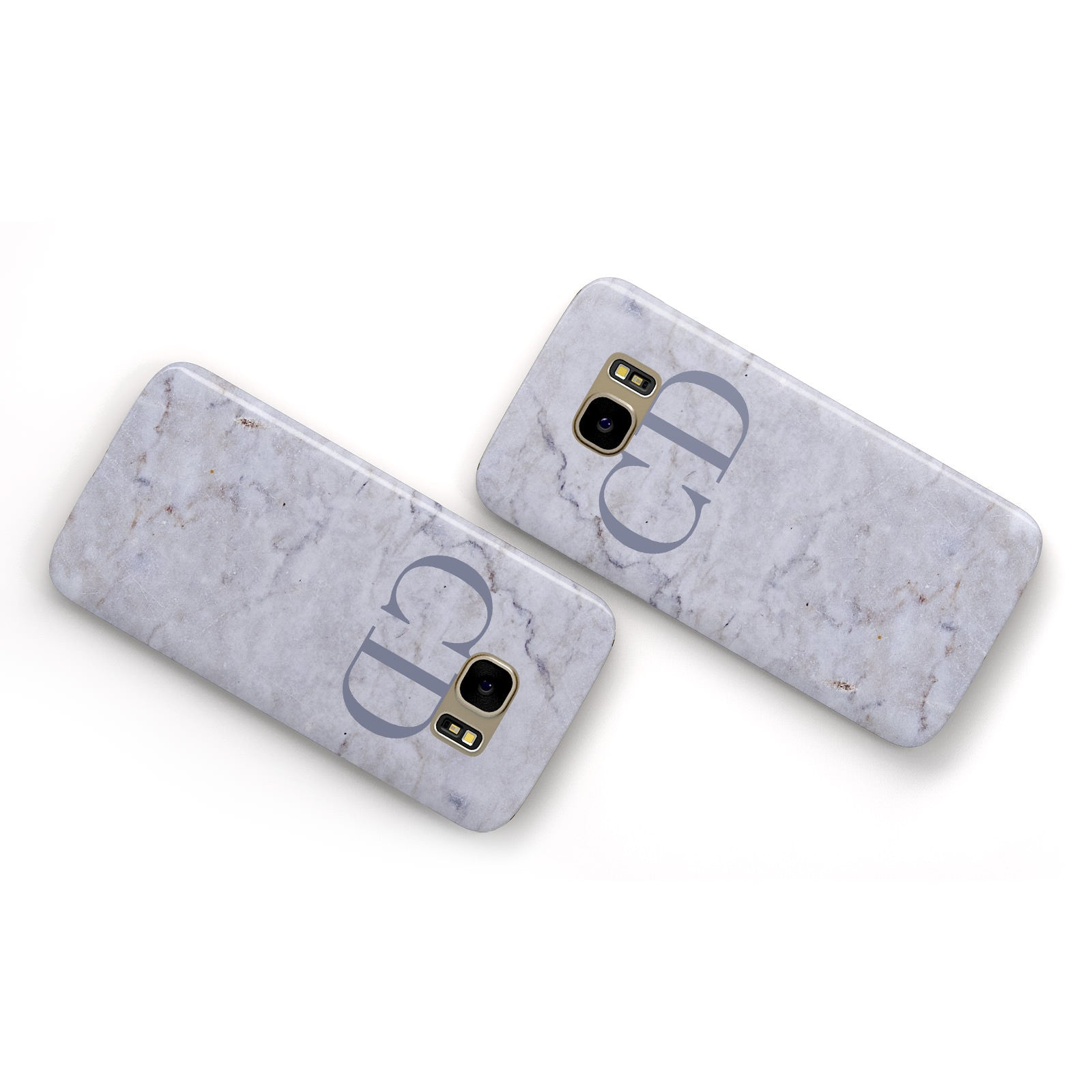 Grey Marble Grey Initials Samsung Galaxy Case Flat Overview