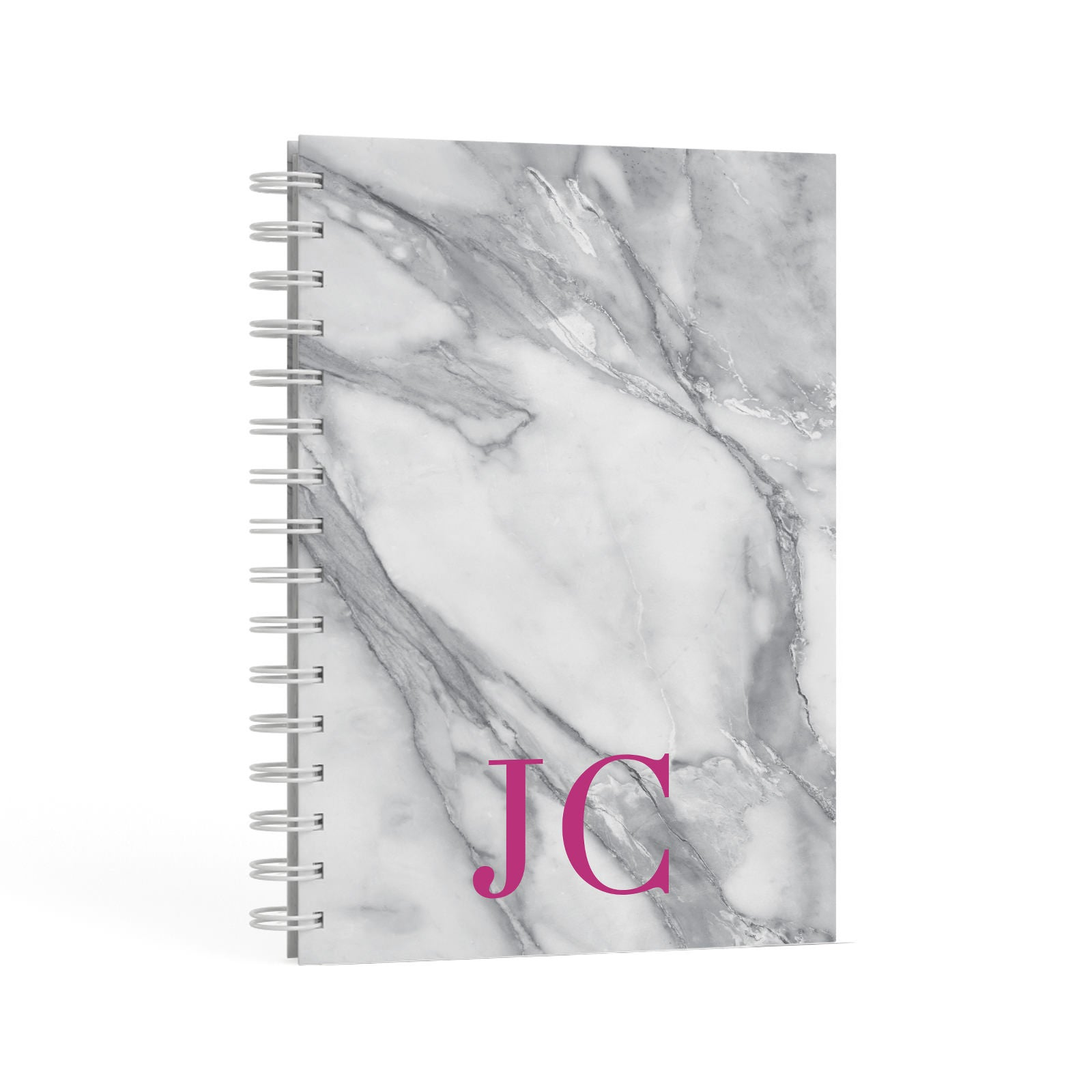 Grey Marble Pink Initials A5 Hardcover Notebook Second Side View