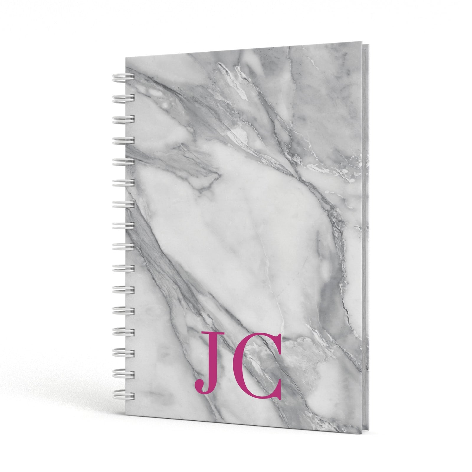 Grey Marble Pink Initials A5 Hardcover Notebook Side View