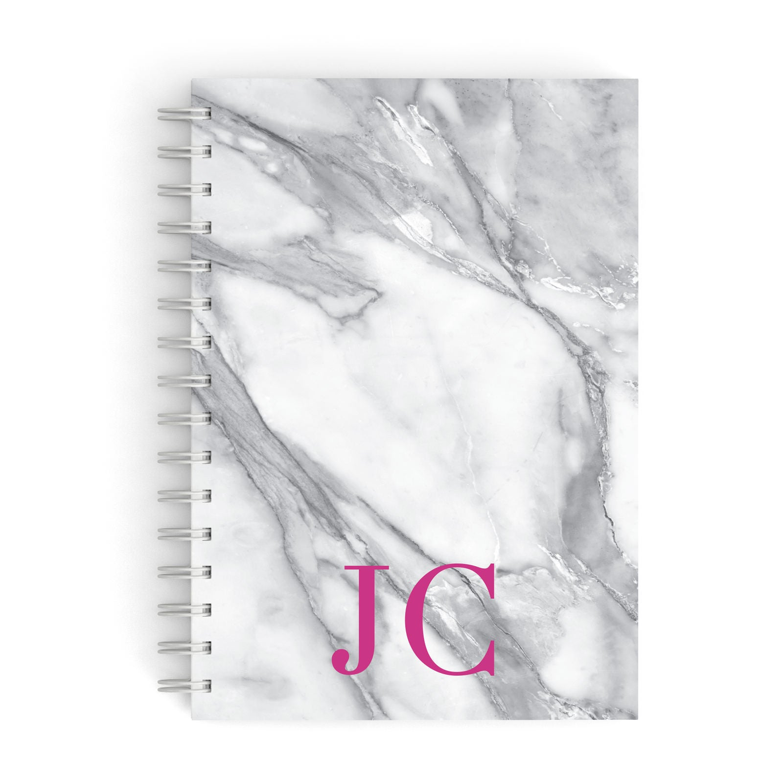 Grey Marble Pink Initials A5 Hardcover Notebook