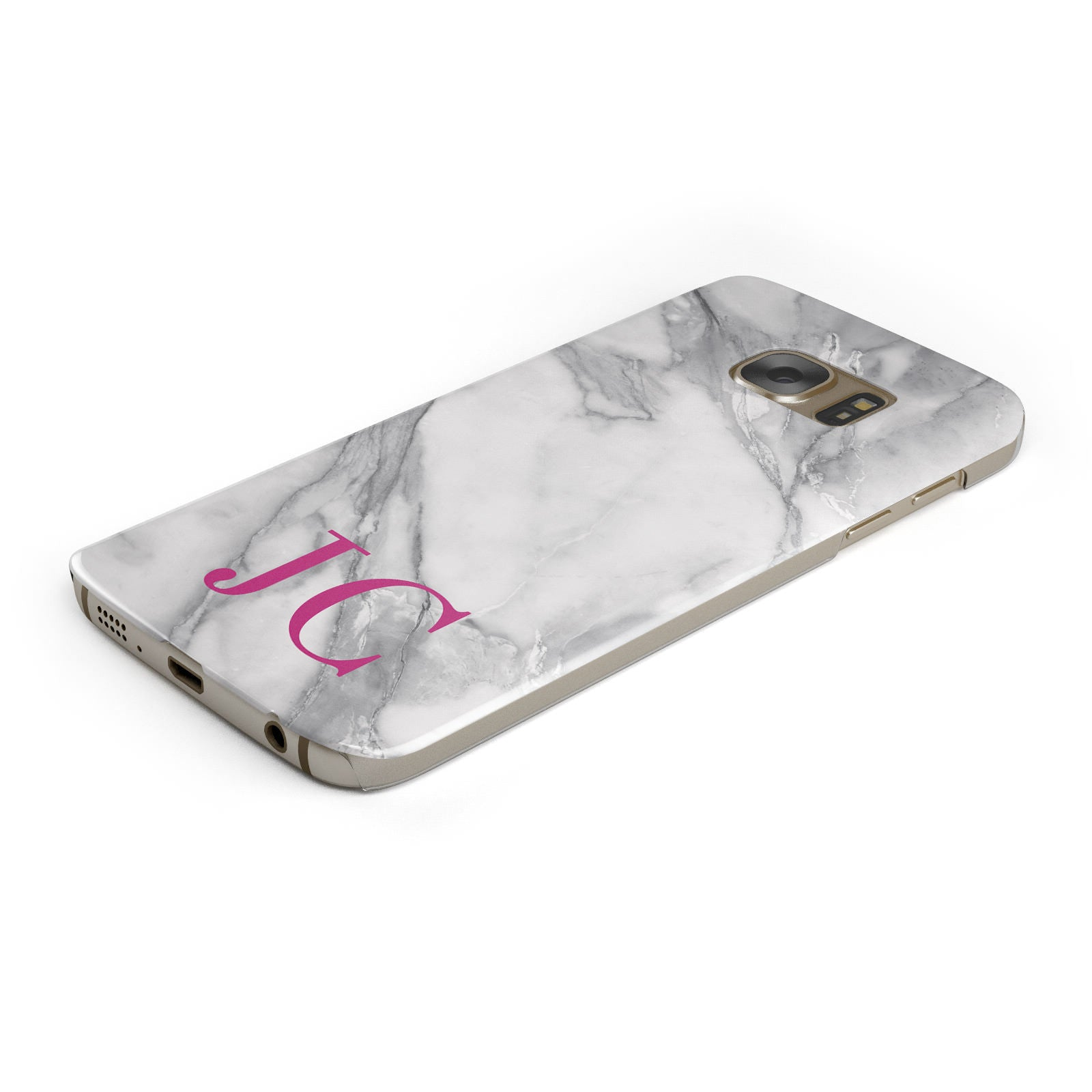 Grey Marble Pink Initials Samsung Galaxy Case Bottom Cutout