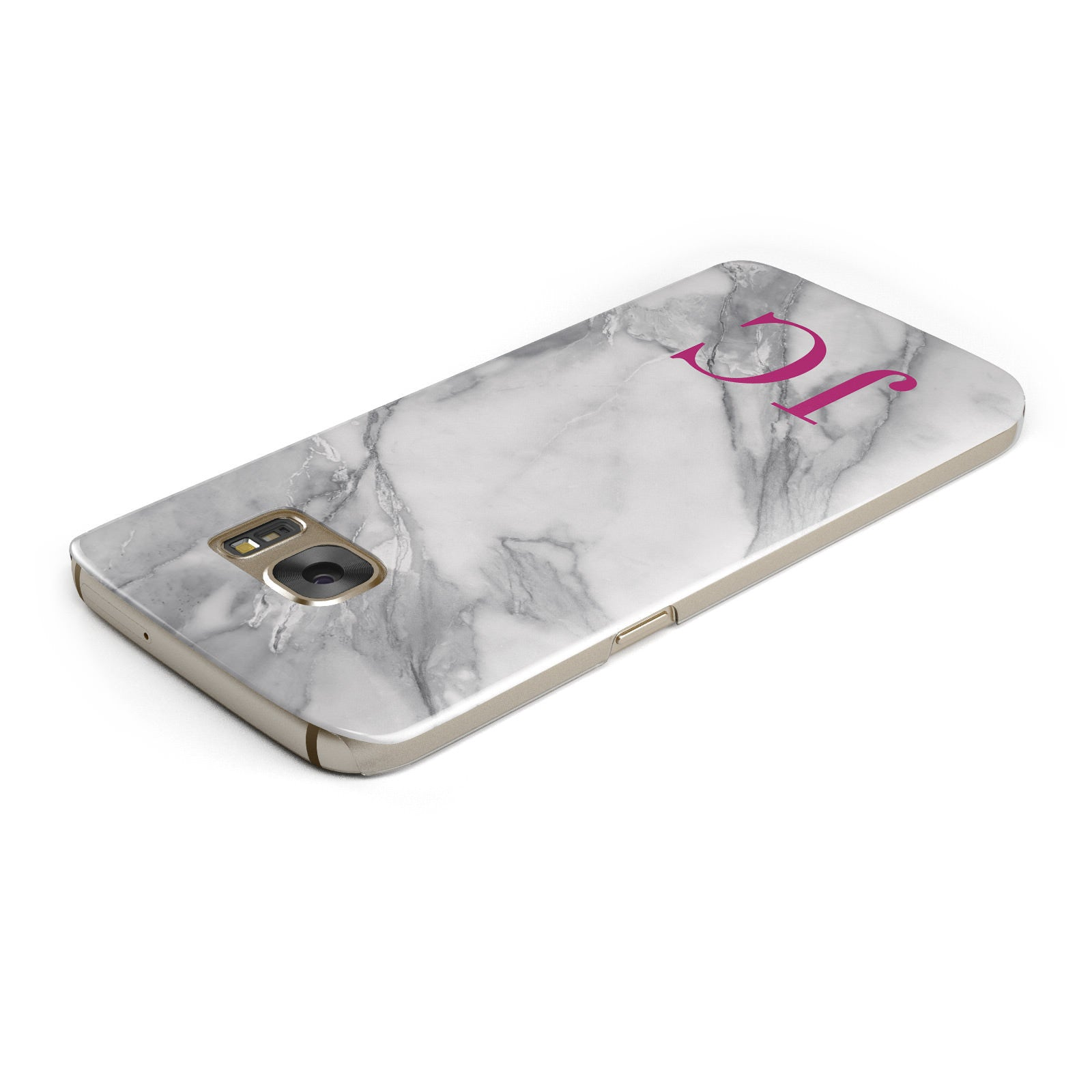 Grey Marble Pink Initials Samsung Galaxy Case Top Cutout