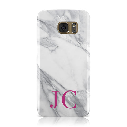 Grey Marble Pink Initials Samsung Galaxy Case