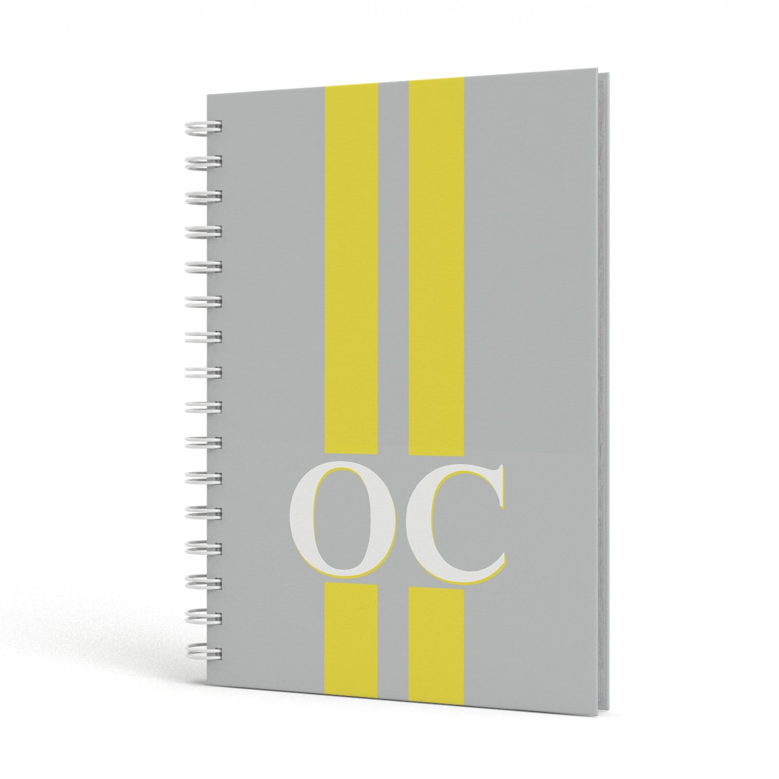 Grey Personalised Initials A5 Hardcover Notebook Side View