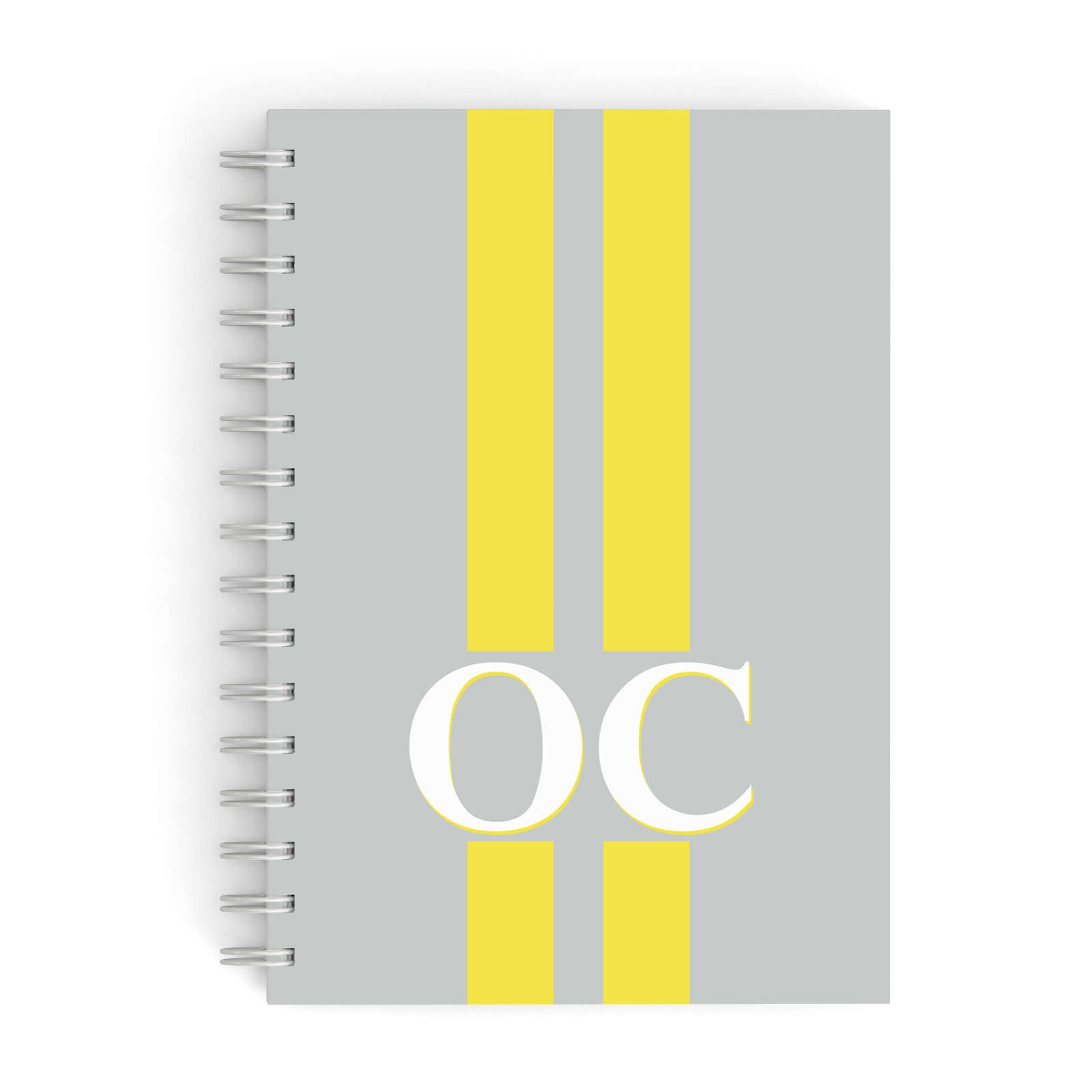 Grey Personalised Initials A5 Hardcover Notebook