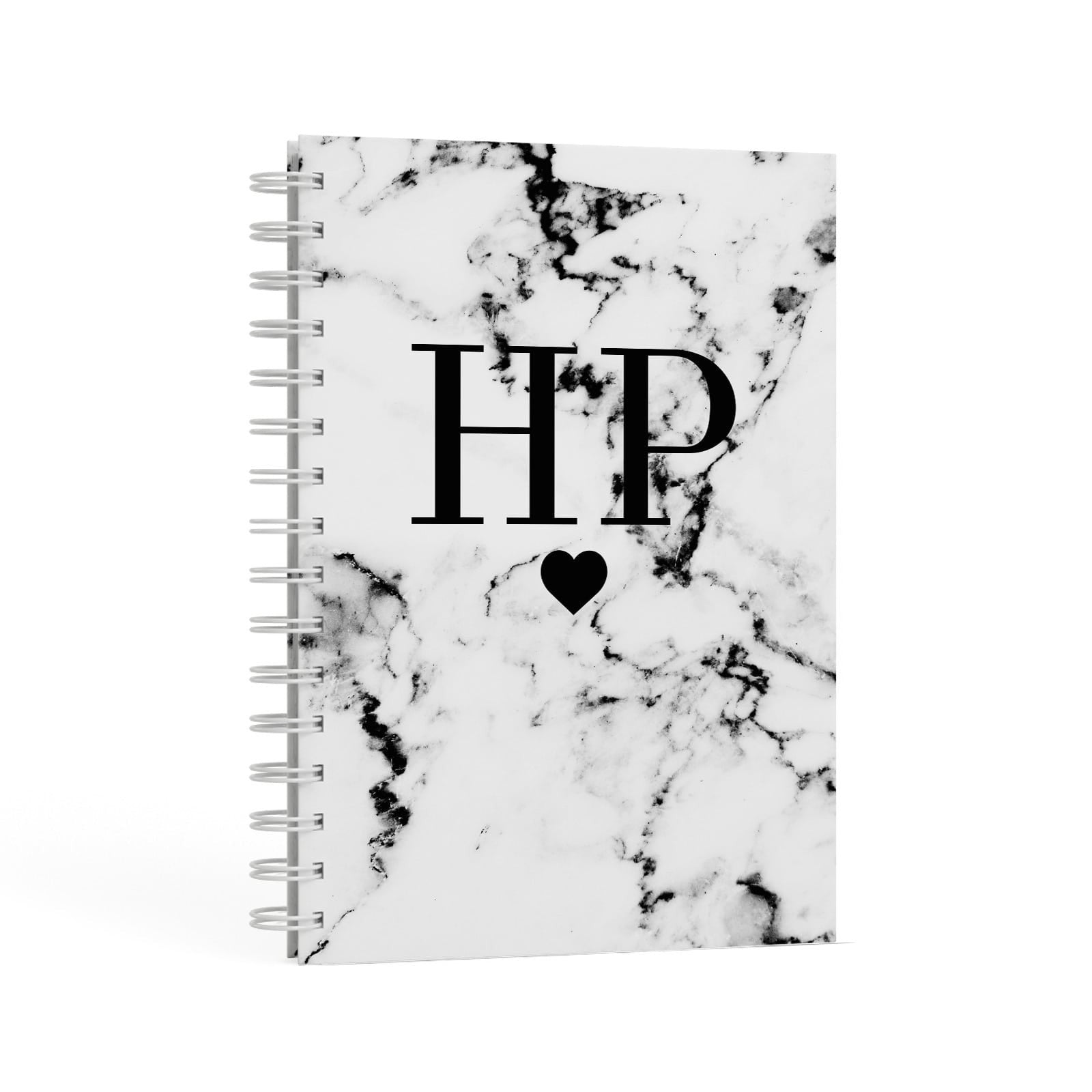 Heart Decal Marble Initials Personalised A5 Hardcover Notebook Second Side View