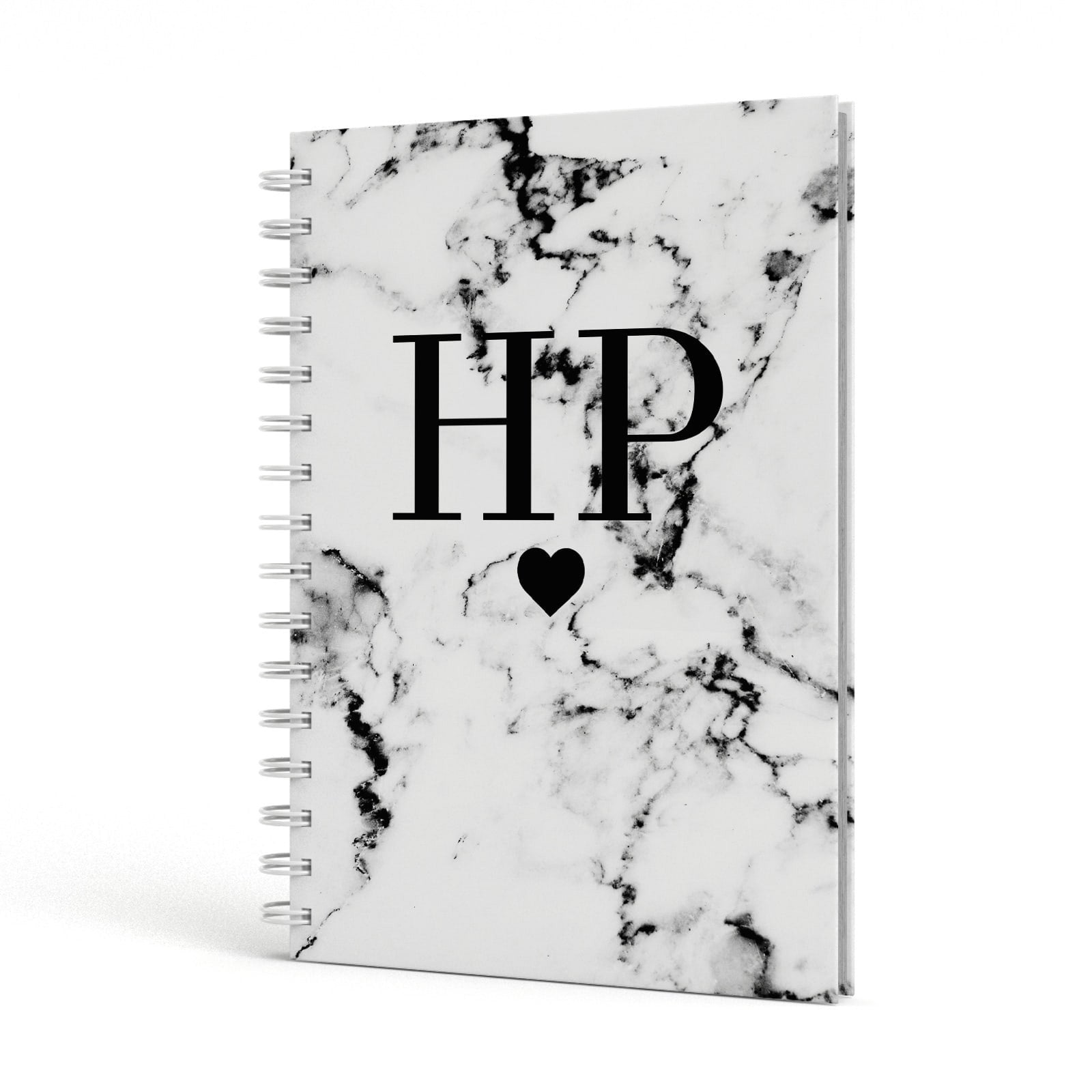 Heart Decal Marble Initials Personalised A5 Hardcover Notebook Side View