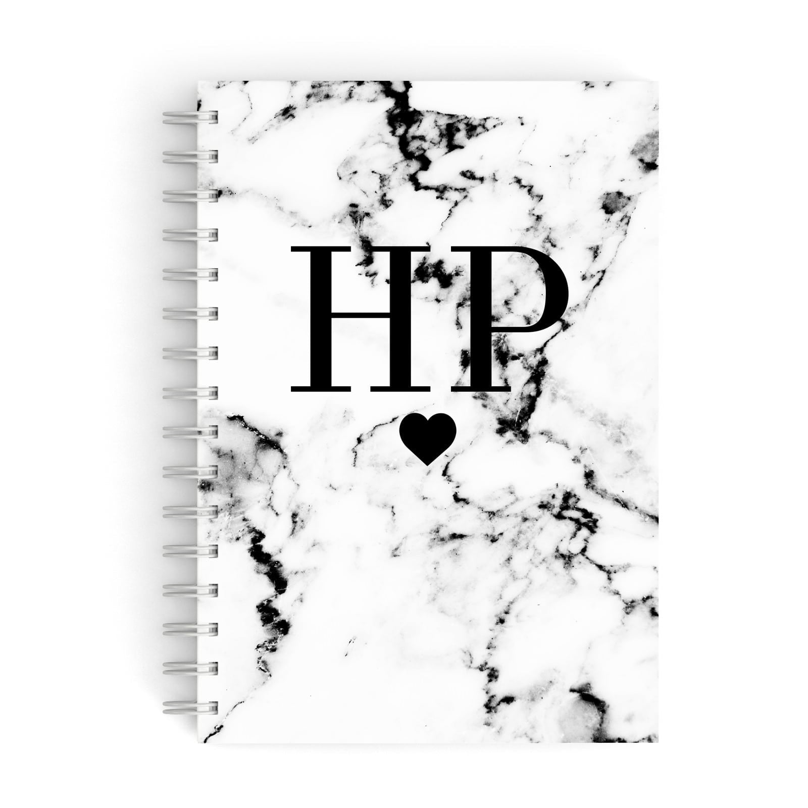 Heart Decal Marble Initials Personalised A5 Hardcover Notebook