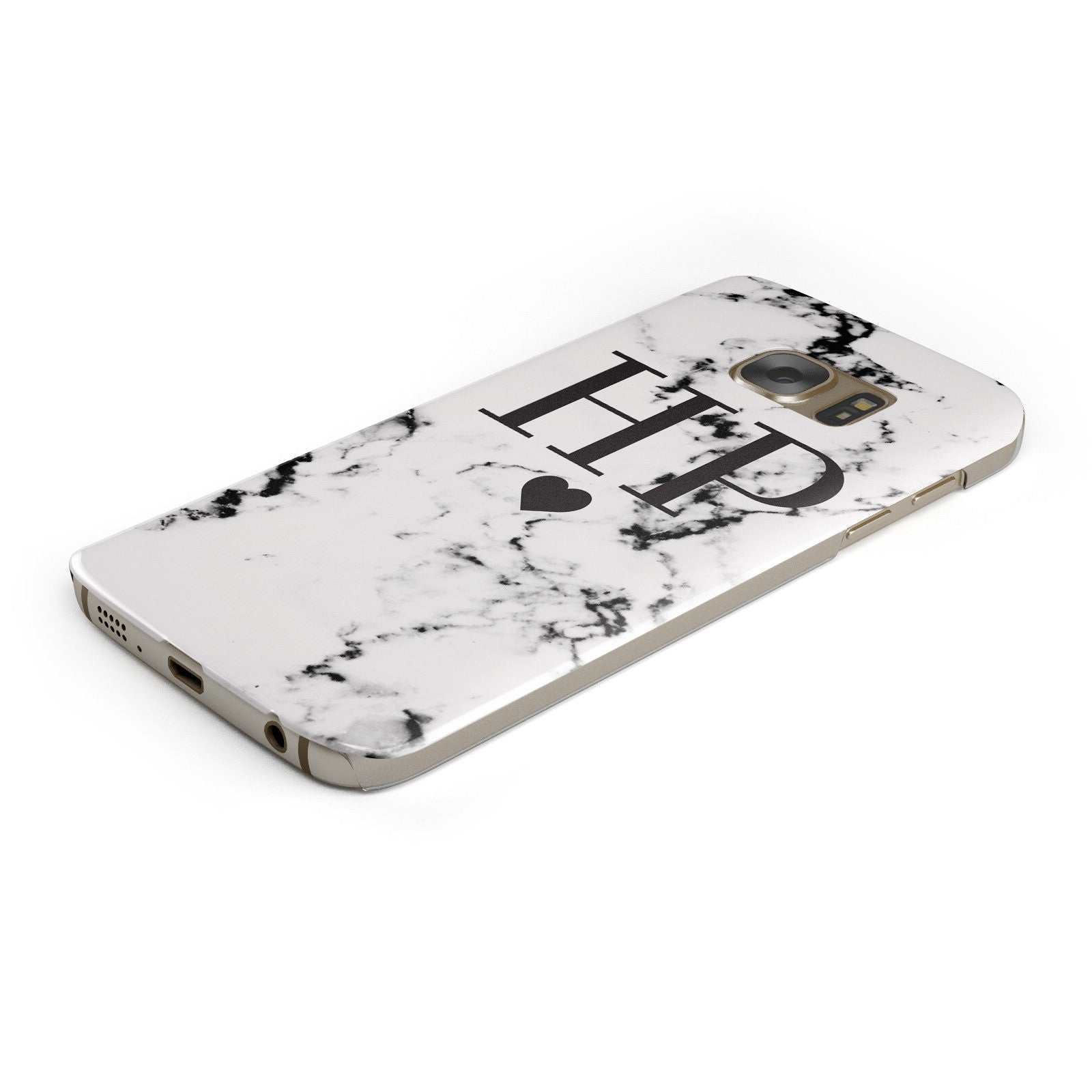 Heart Decal Marble Initials Personalised Samsung Galaxy Case Bottom Cutout