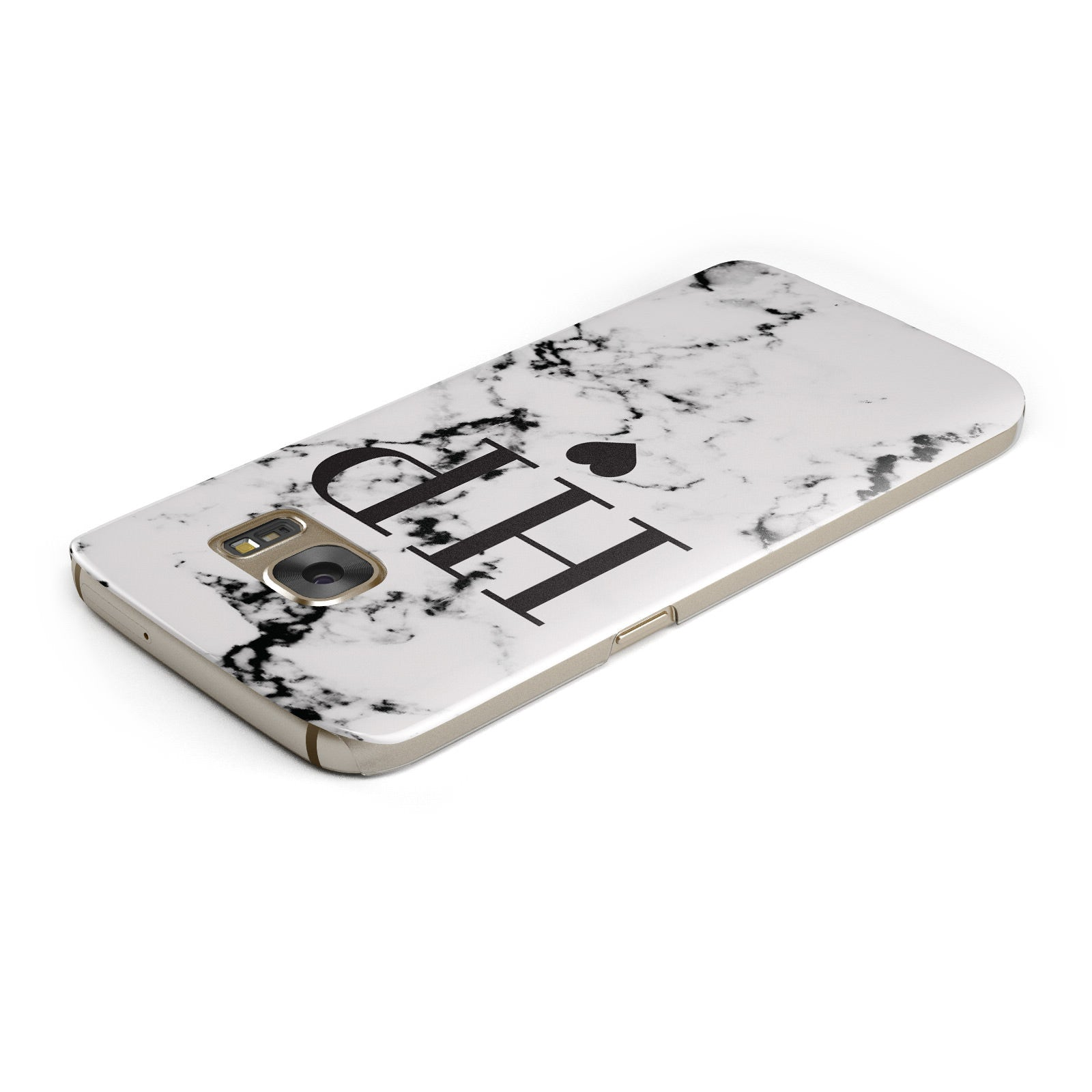 Heart Decal Marble Initials Personalised Samsung Galaxy Case Top Cutout