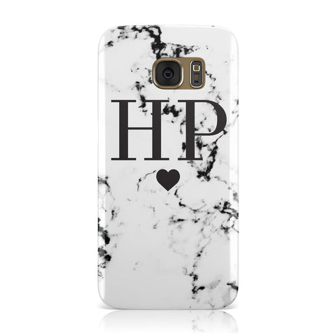 Heart Decal Marble Initials Personalised Samsung Galaxy Case