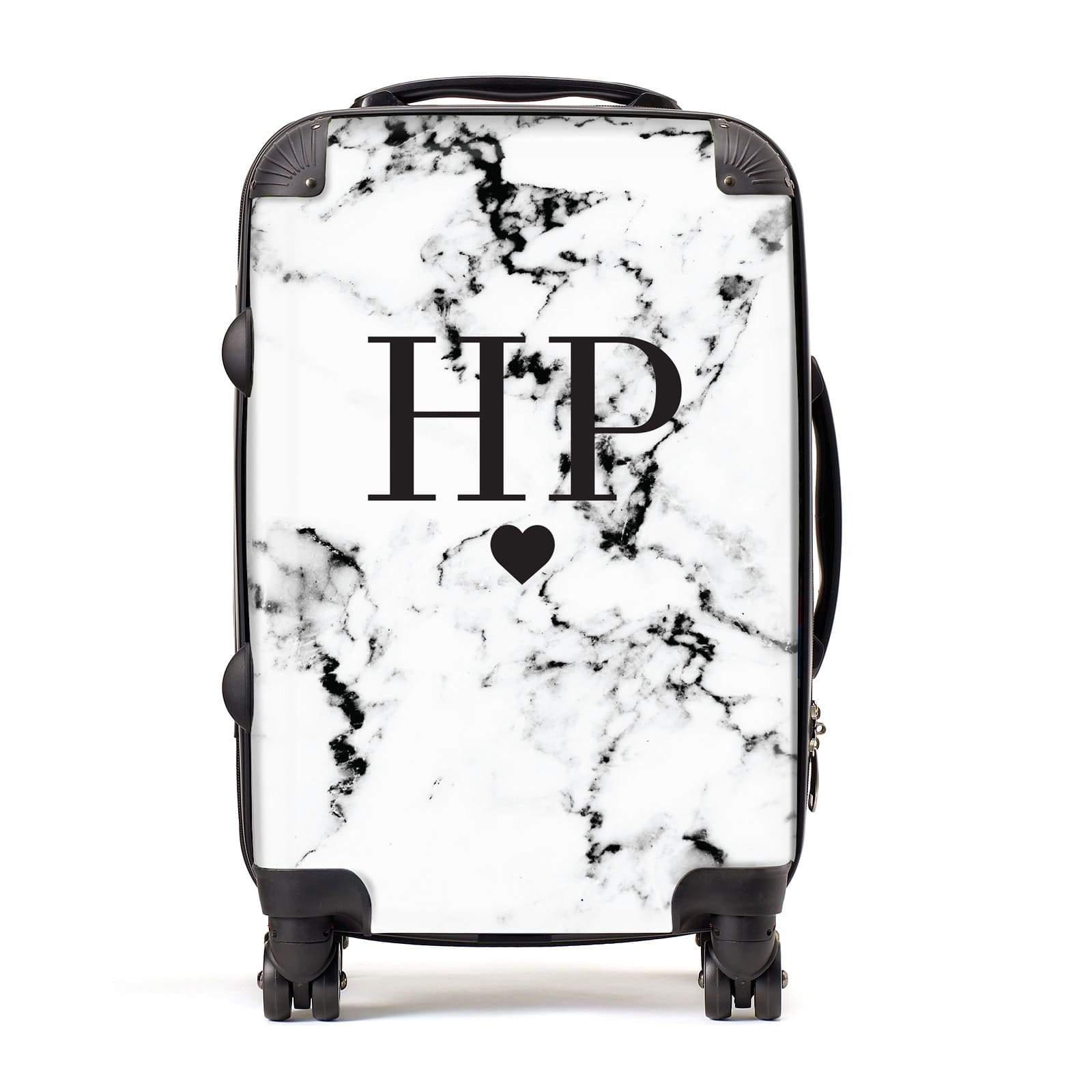 Heart Decal Marble Initials Personalised Suitcase