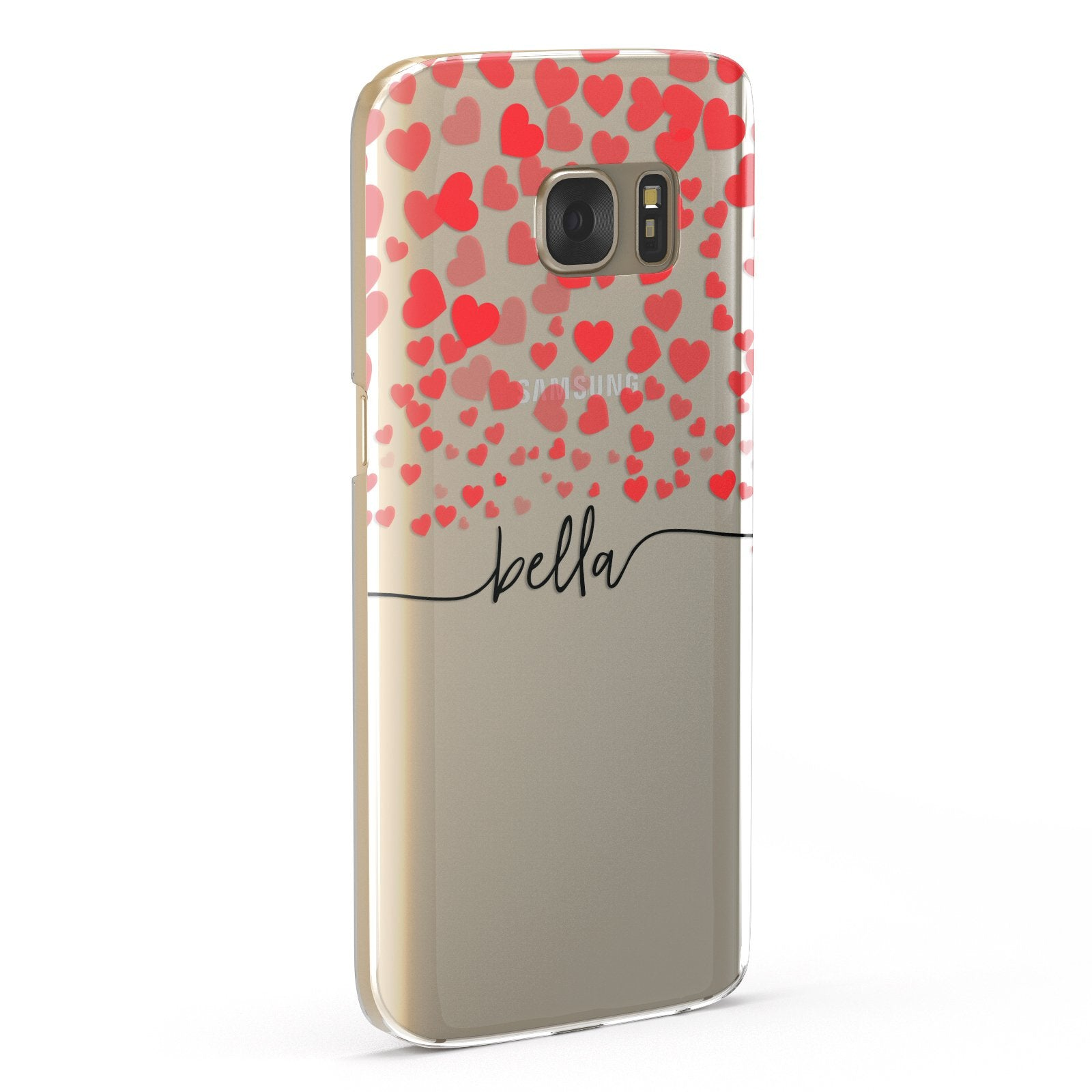 Personalised Hearts Confetti & Black Name Samsung Galaxy Case Fourty Five Degrees