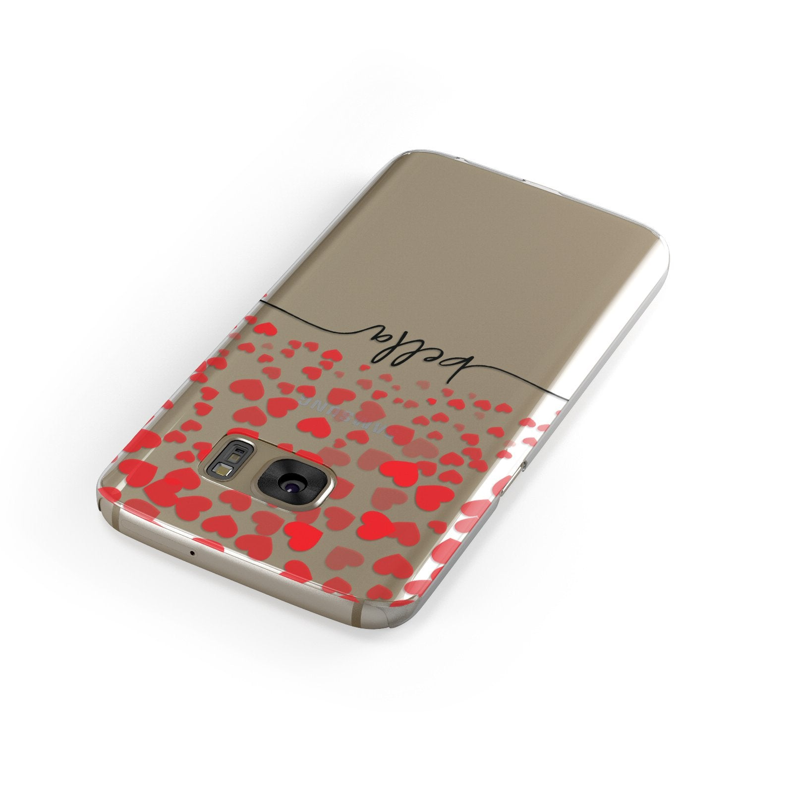 Personalised Hearts Confetti & Black Name Samsung Galaxy Case Front Close Up