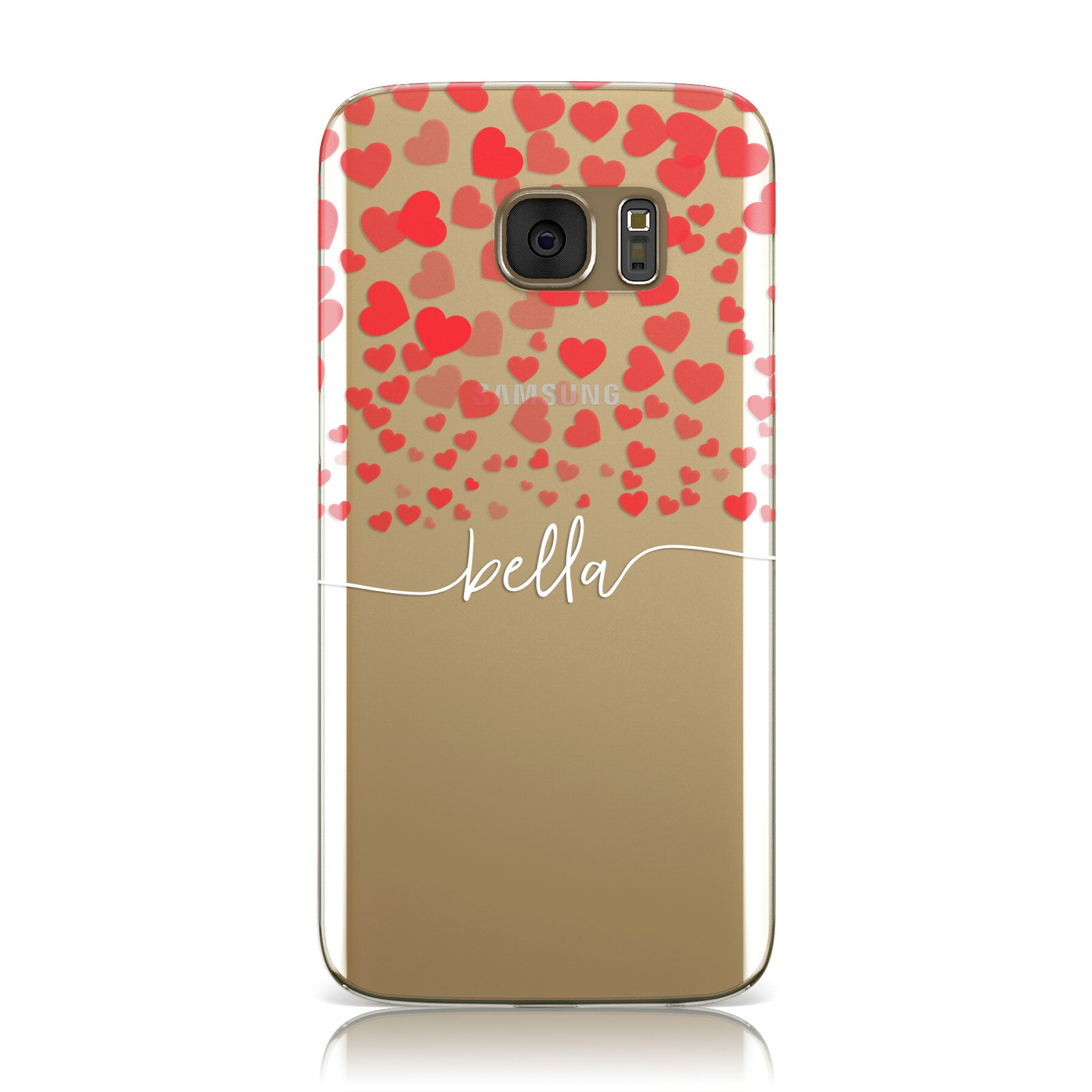 Personalised Hearts Confetti & Clear White Name Samsung Galaxy Case