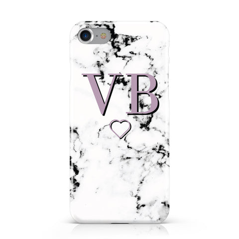 Personalised Initials Love Heart Marble Apple iPhone Case