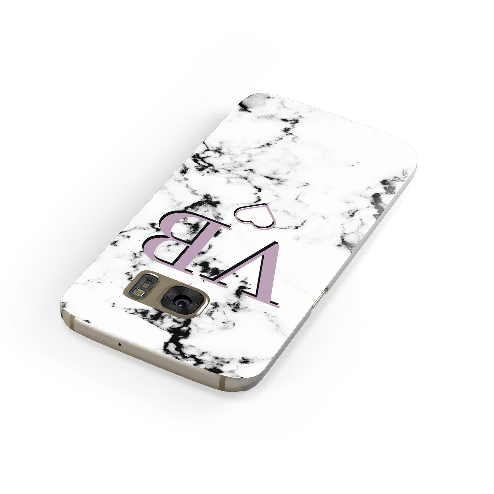 Personalised Initials Love Heart Marble Samsung Galaxy Case Front Close Up
