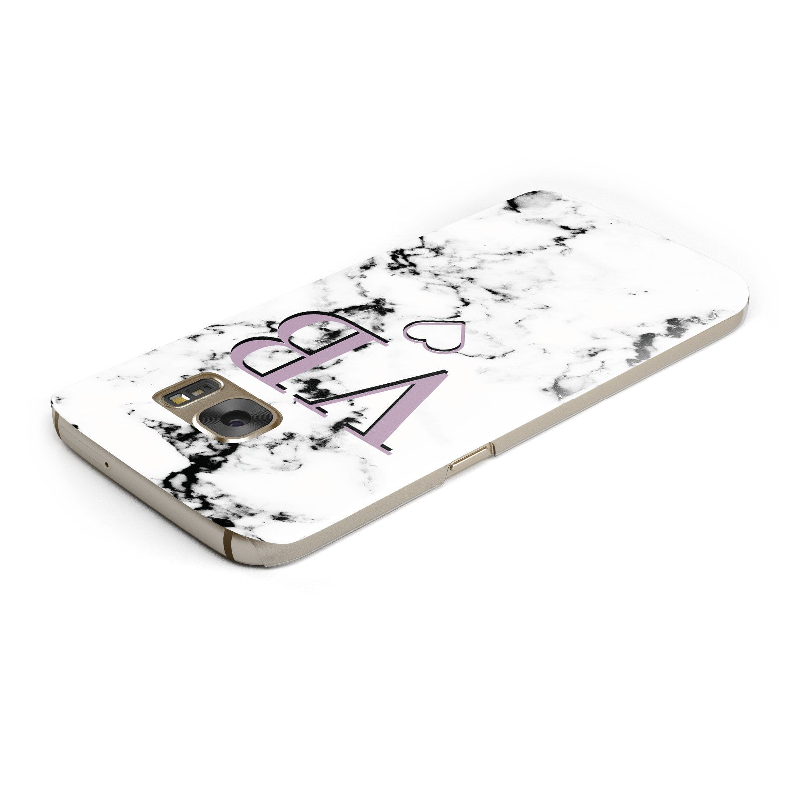 Personalised Initials Love Heart Marble Samsung Galaxy Case Top Cutout