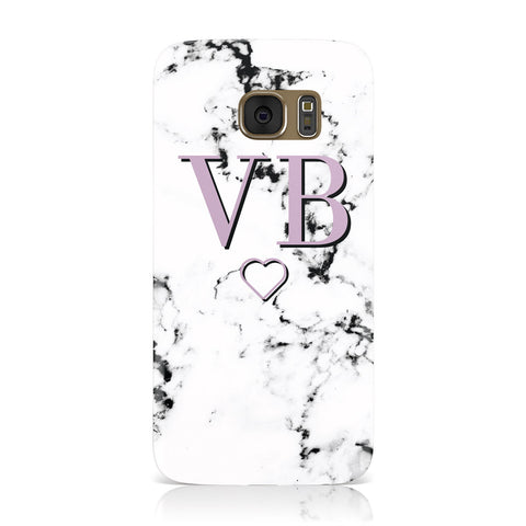 Personalised Initials Love Heart Marble Samsung Galaxy Case