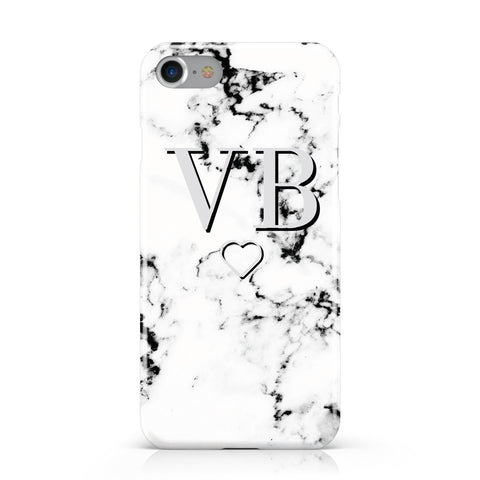 Personalised Initials Outline Heart Marble Apple iPhone Case