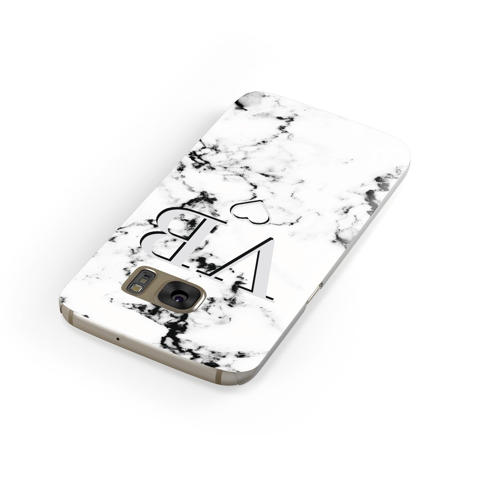 Personalised Initials Outline Heart Marble Samsung Galaxy Case Front Close Up