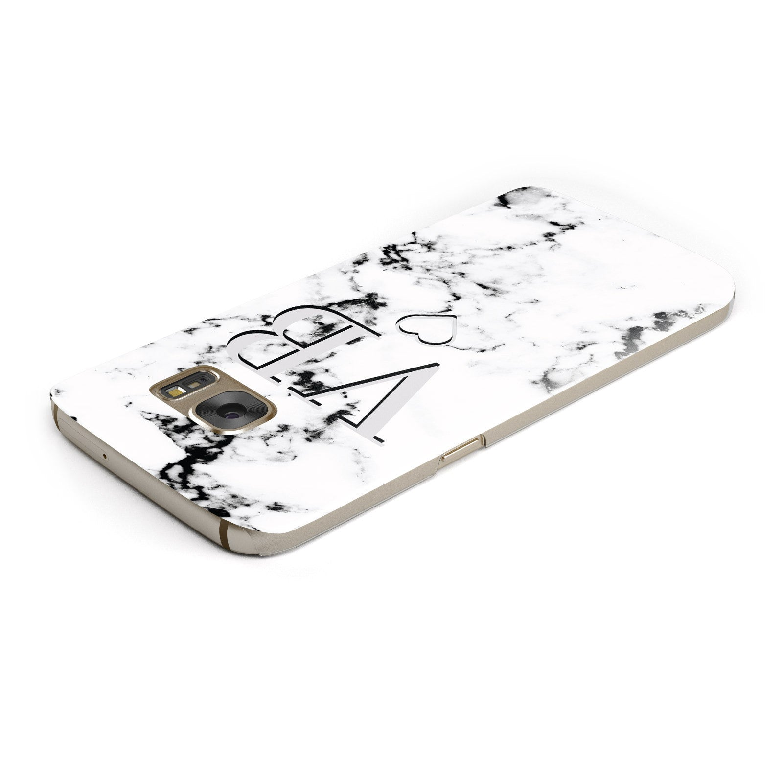 Personalised Initials Outline Heart Marble Samsung Galaxy Case Top Cutout