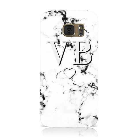 Personalised Initials Outline Heart Marble Samsung Galaxy Case