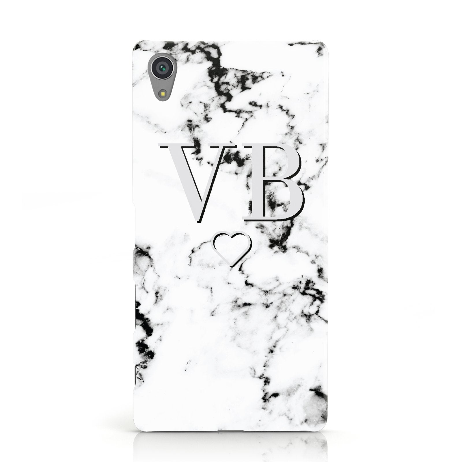 Personalised Initials Outline Heart Marble Sony Xperia Case