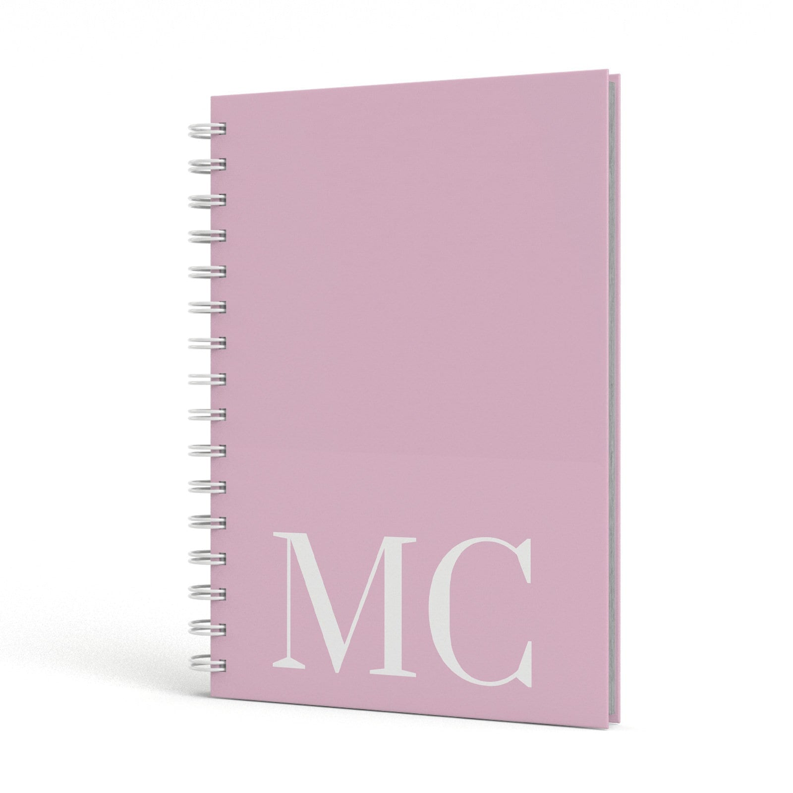 Initials Personalised 2 A5 Hardcover Notebook Side View