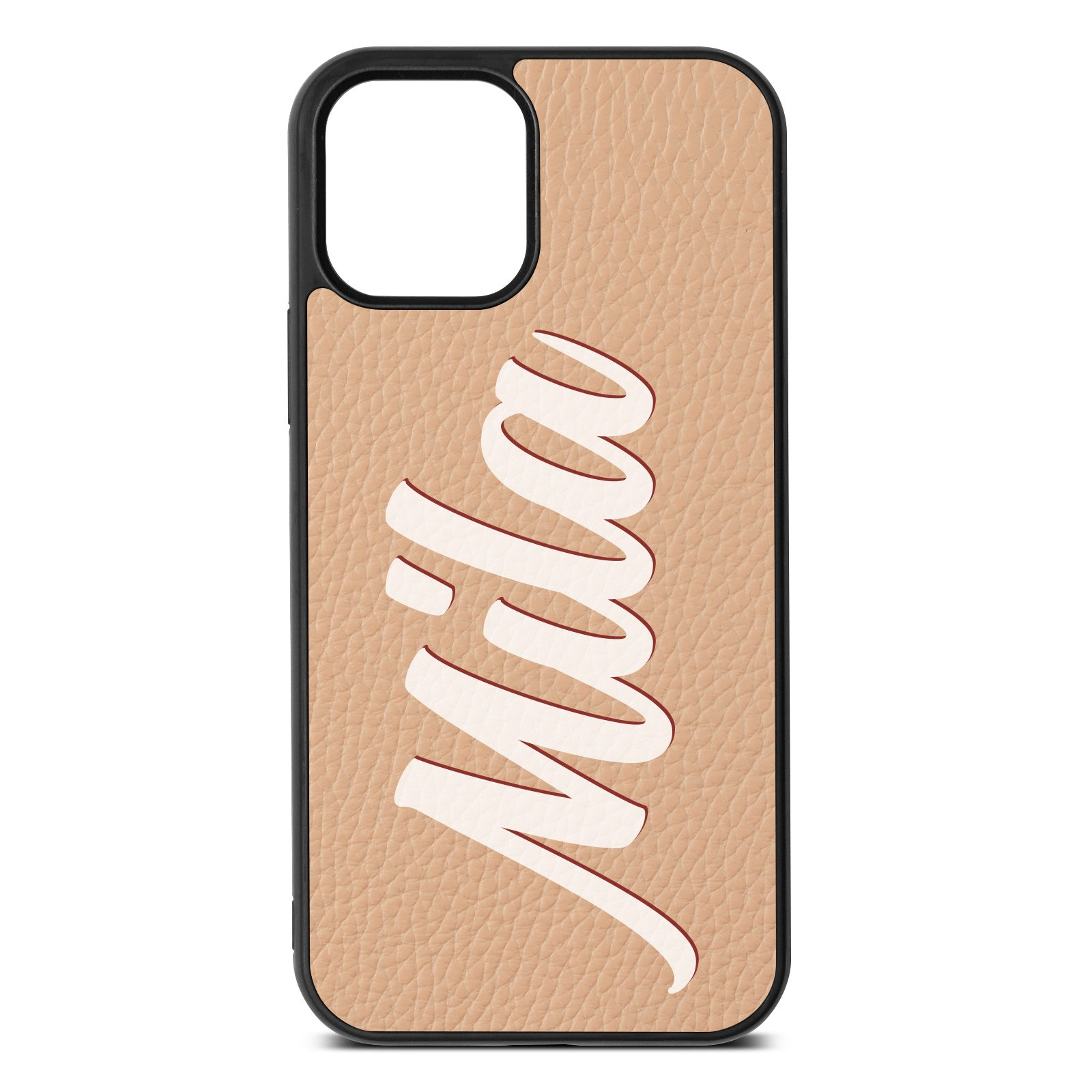 iPhone 12 Nude Pebble Leather Case