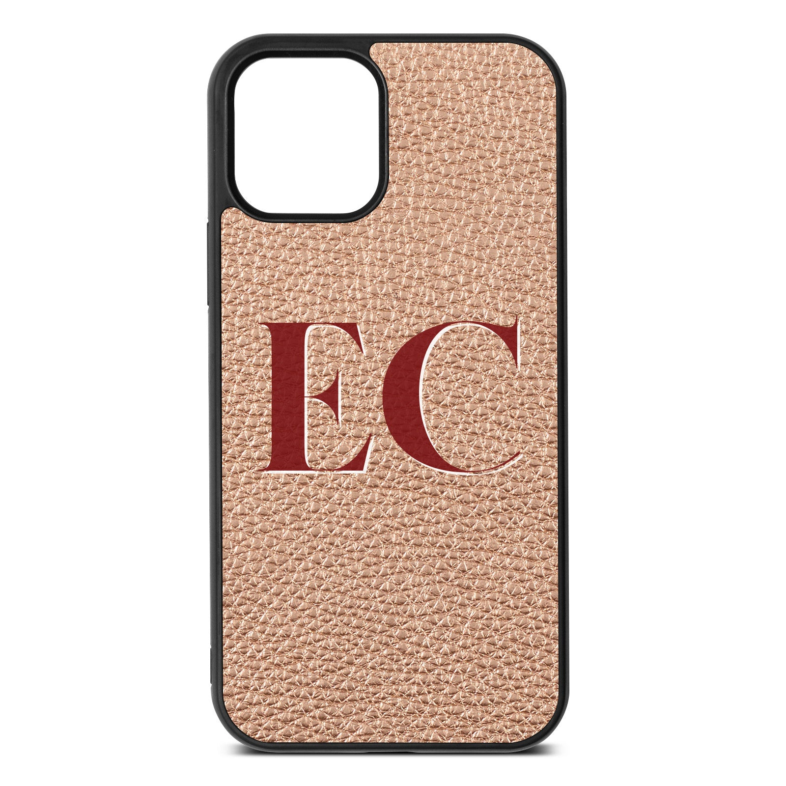 iPhone 12 Rose Gold Pebble Leather Case