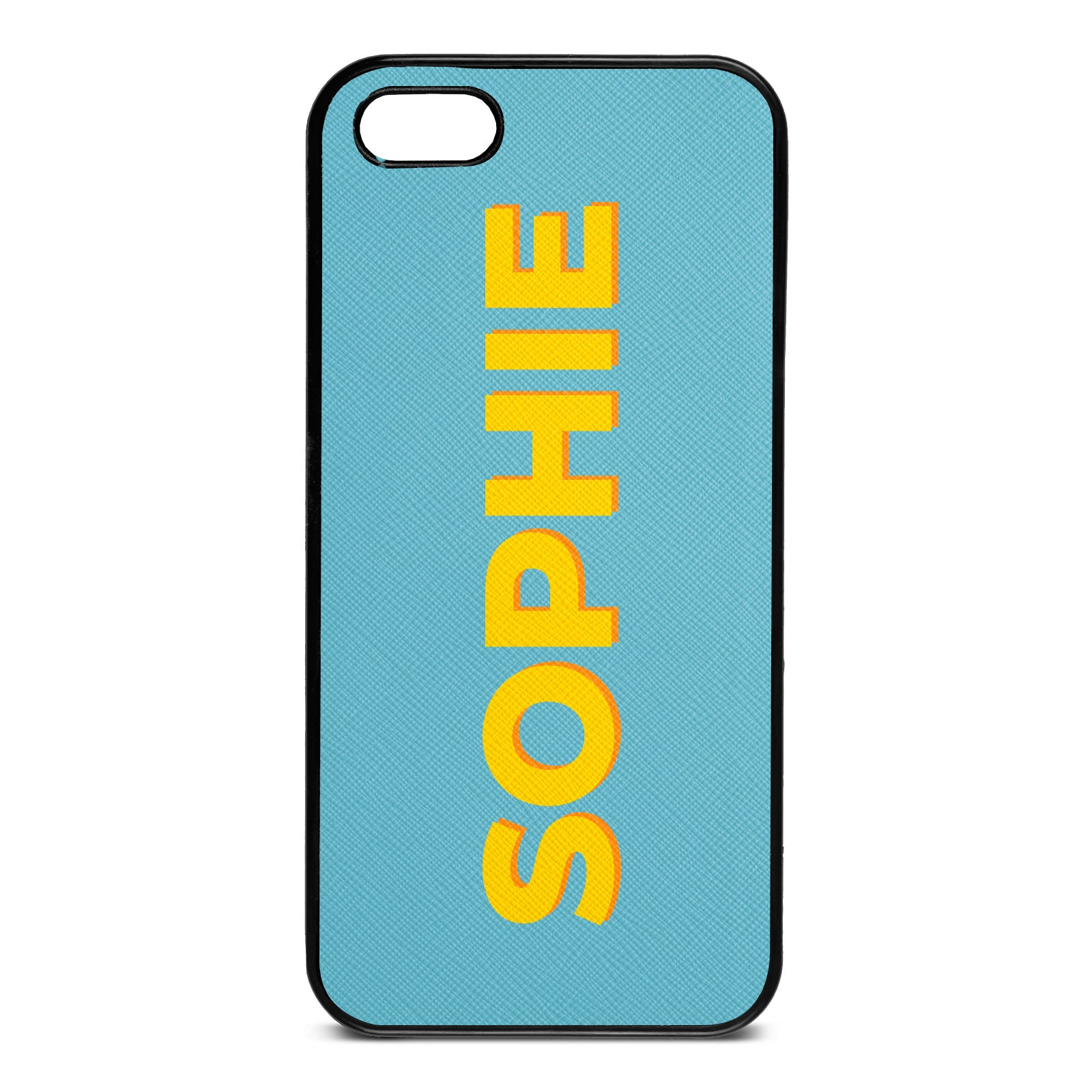 Personalised Sky Blue Saffiano Leather iPhone 5 Case