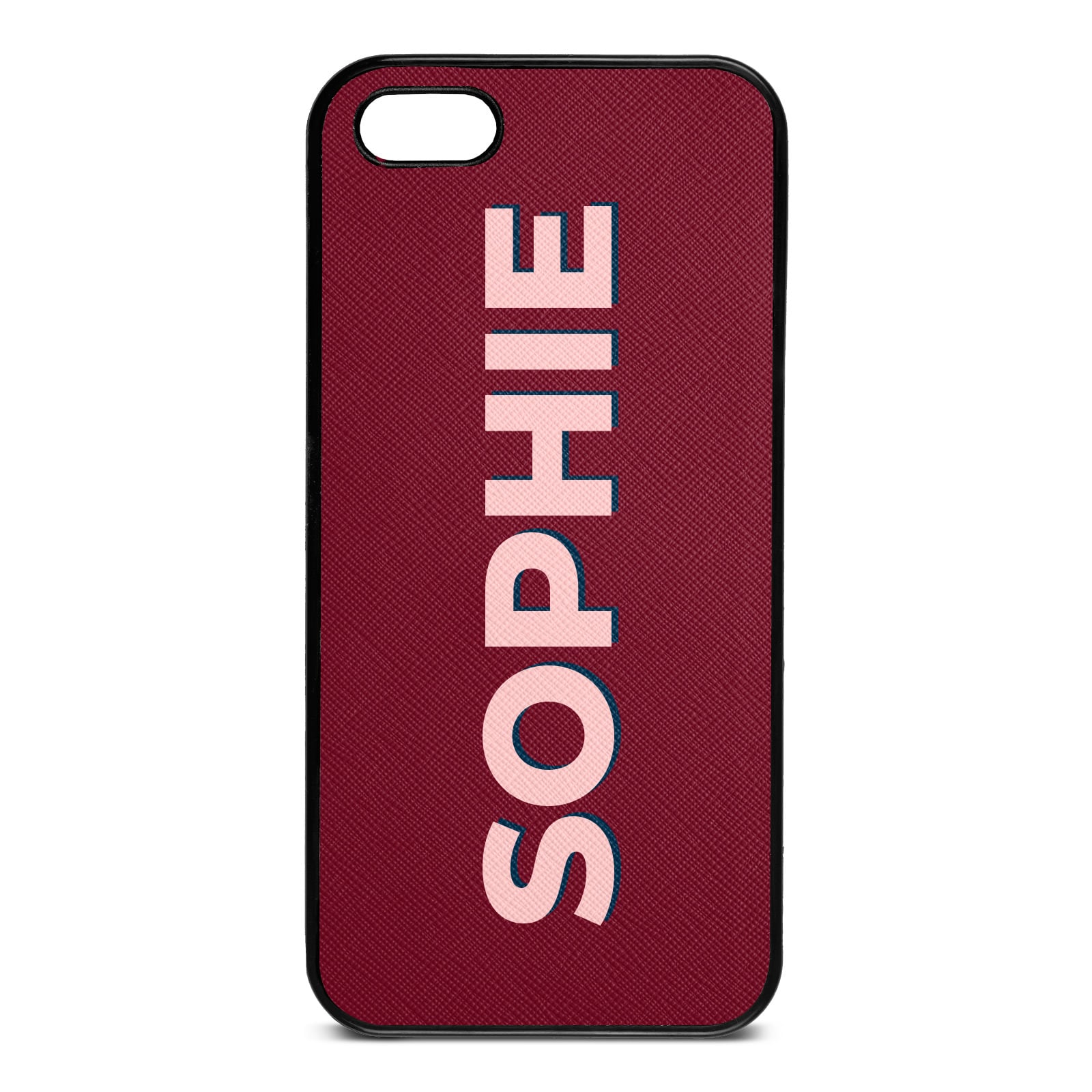 Personalised Dark Red Saffiano Leather iPhone 5 Case