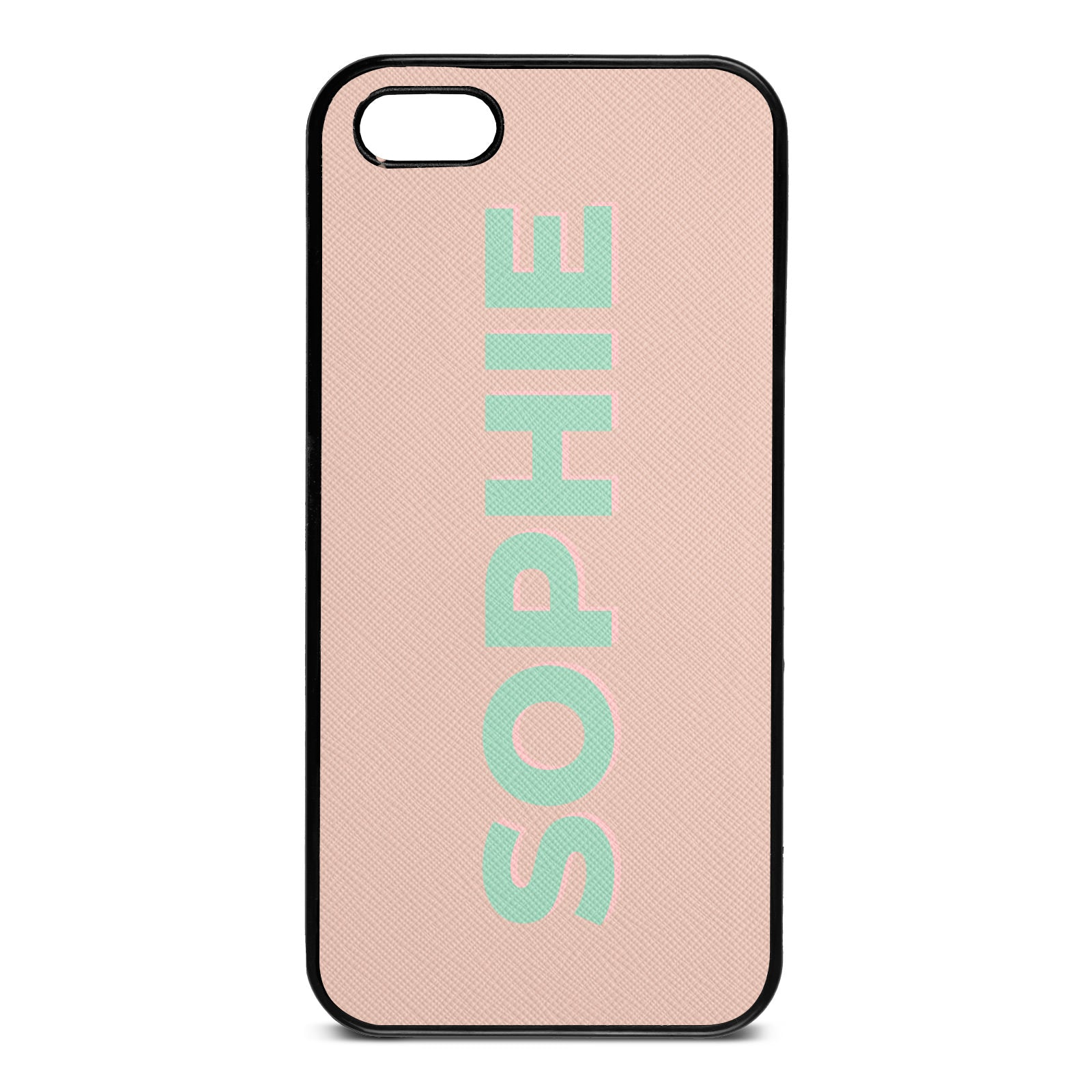 Personalised Nude Saffiano Leather iPhone 5 Case