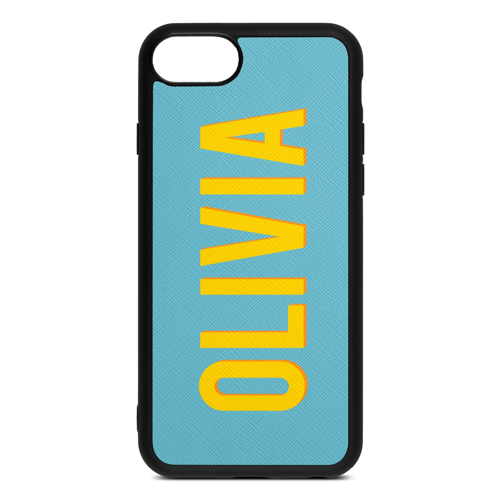 Personalised Sky Blue Saffiano Leather iPhone 8 Case