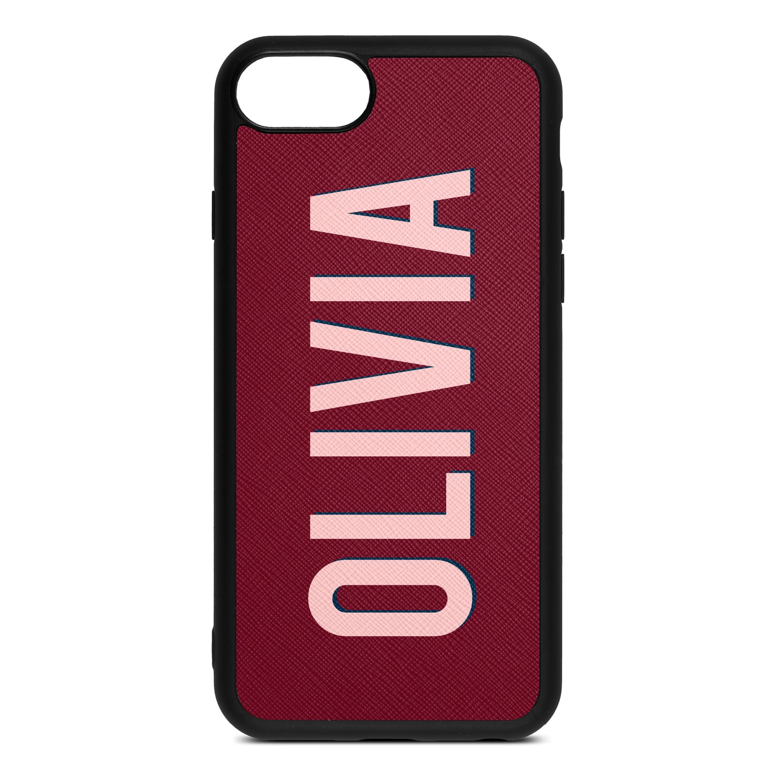 Personalised Dark Red Saffiano Leather iPhone 8 Case