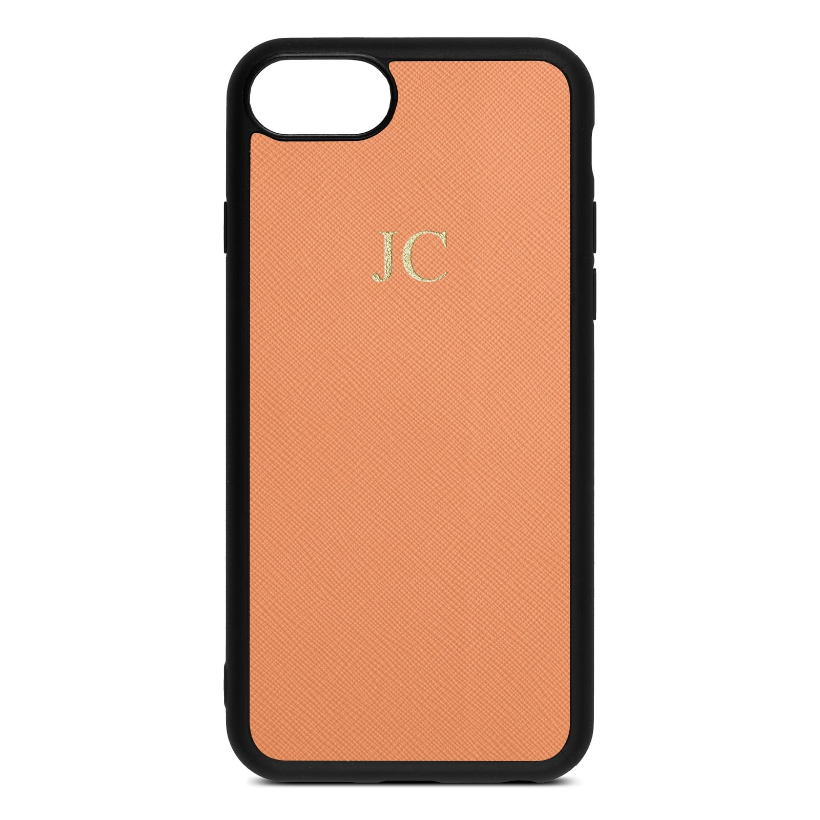 Personalised Orange Saffiano Leather iPhone 8 Case