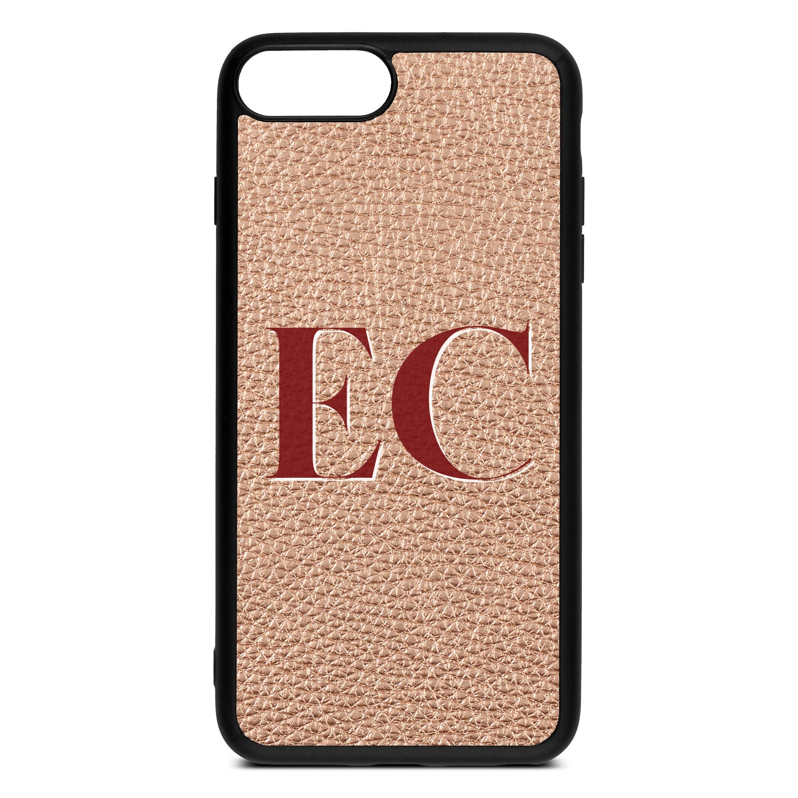 iPhone 8 Plus Rose Gold Pebble Leather Case