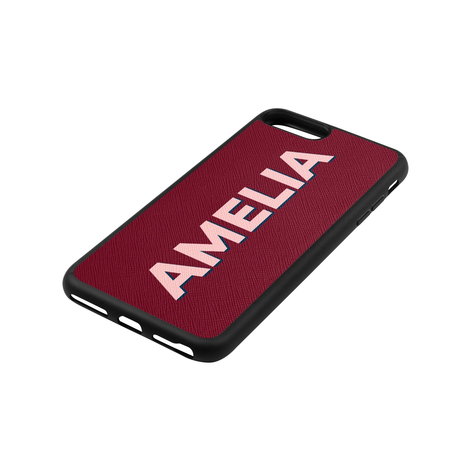 Personalised Drop Shadow Dark Red Leather iPhone Case