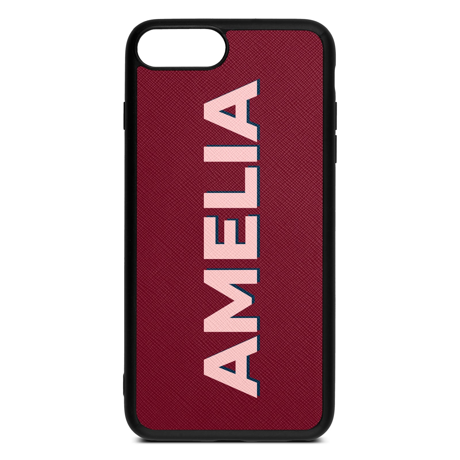 Personalised Dark Red Saffiano Leather iPhone 8 Plus Case