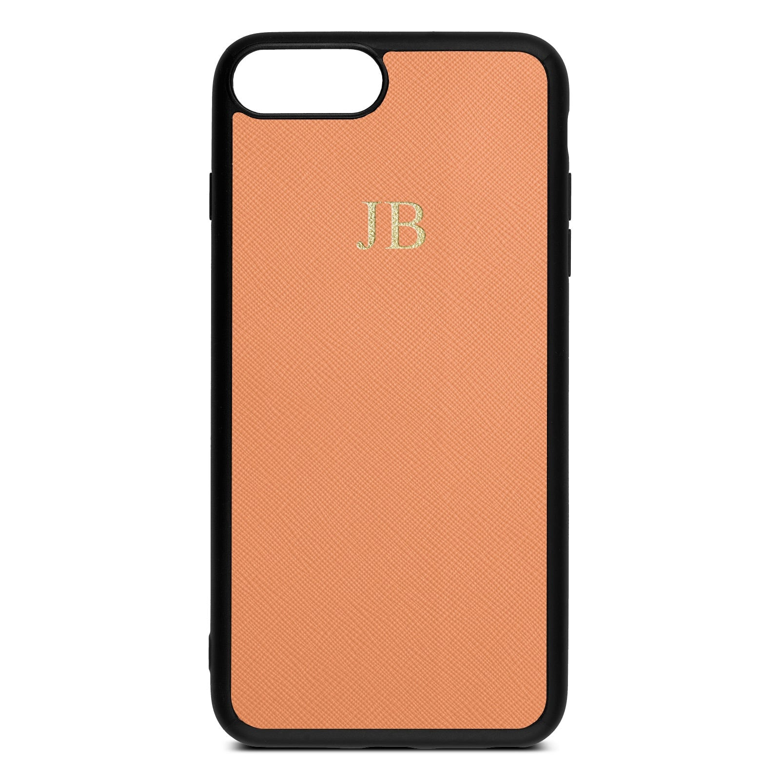 Personalised Orange Saffiano Leather iPhone 8 Plus Case