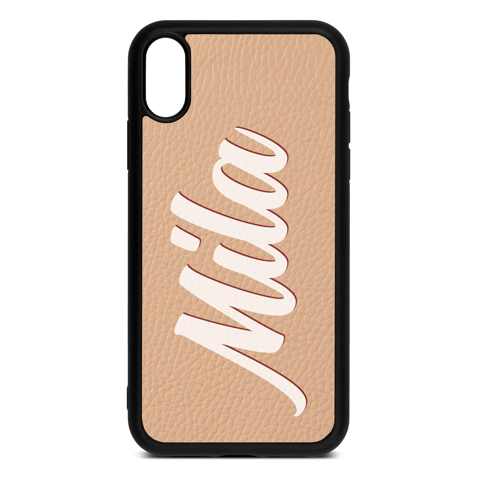 iPhone Xr Nude Pebble Leather Case