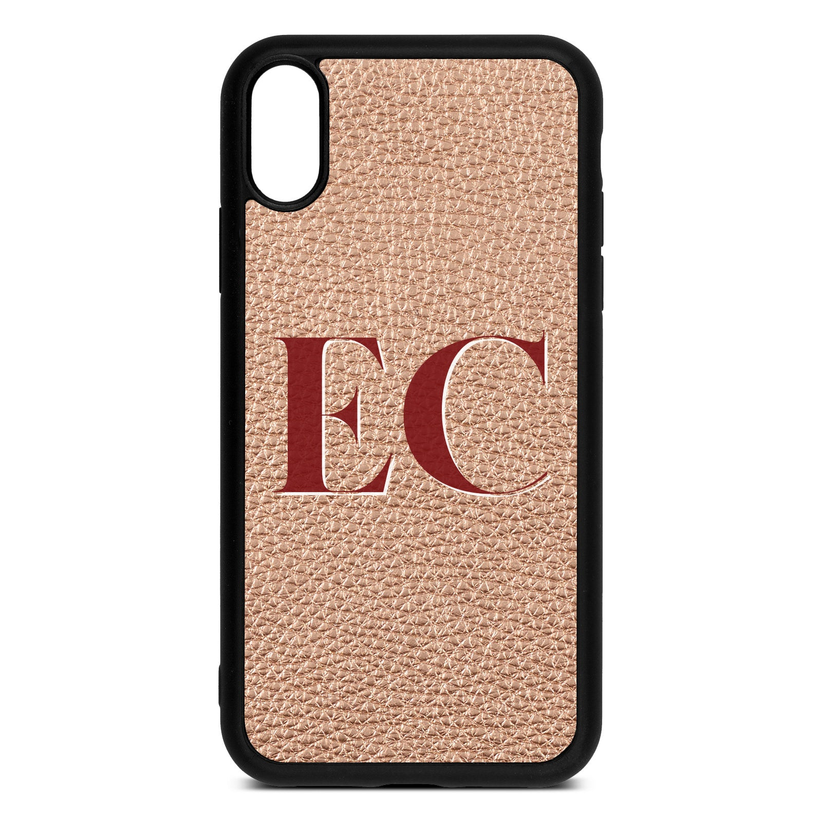 iPhone Xr Rose Gold Pebble Leather Case