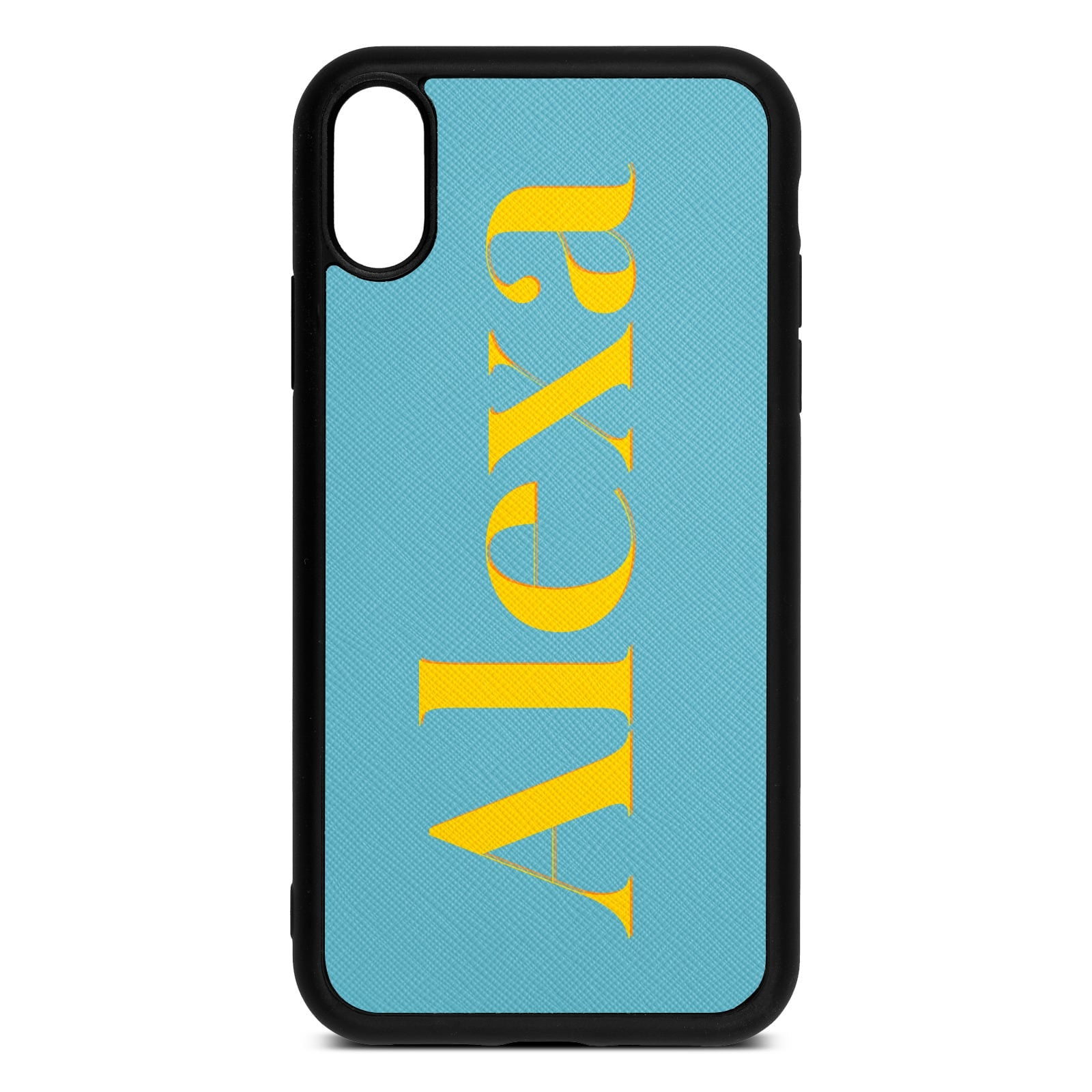Personalised Sky Blue Saffiano Leather iPhone XR Case